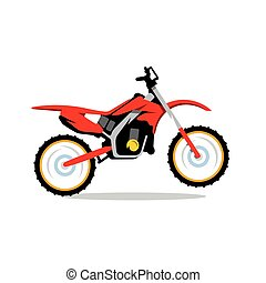 Vector Motocross Bike Cartoon Illustration. - Red Motocross...