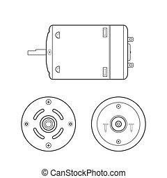 vector, motor eléctrico, contorno, ilustración