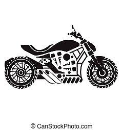Vector Motorcycle Black simplified cruiser