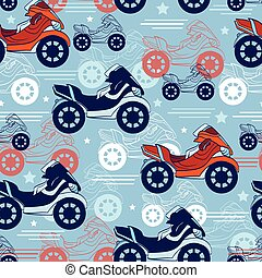 Vector Motorcycles Blue Red Seamless Pattern