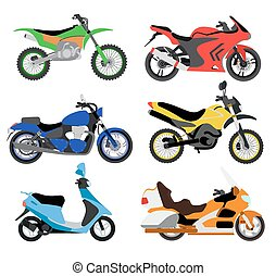 Vector motorcycles illustration. Moto bike isolated on white background