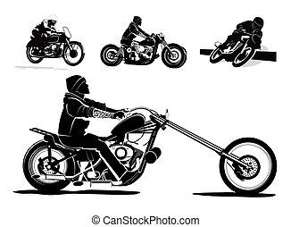 vector, motorfiets, achtergrond
