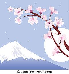 vector Mount Fuji, moon and branches of sakura (cherry)