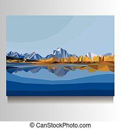 vector mountain landscape illustration on canvas