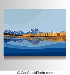 vector mountain landscape illustration on canvas