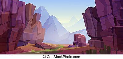 Vector mountain landscape with canyon - Mountain landscape ...
