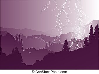 vector mountain landscape with lightning