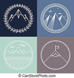 Vector mountain logos and emblems in outline style -...
