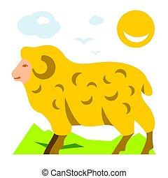 Vector Mountain Sheep. Flat style colorful Cartoon illustration.