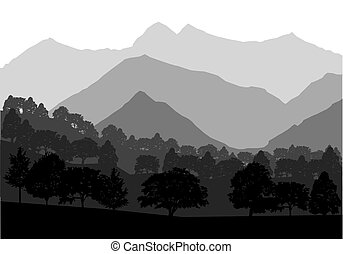 Vector mountains and forest landscape. illustration.