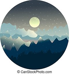 Vector mountains and forest landscape with moon and snowflakes in the night.