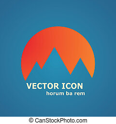 Vector mountains and sun icon.