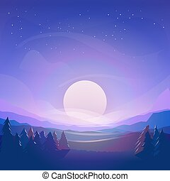 Vector mountains, moon and forest landscape in the night. Beautiful purple geometric illustration
