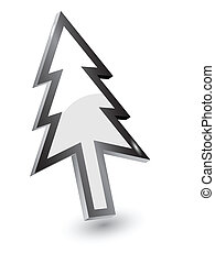 Vector mouse arrow pointers, Xmas tree version, 3d