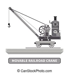 Vector movable crane in flat style