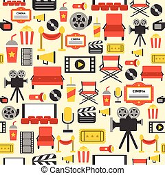 Vector movie element design for background and present paper or fabric in retro style set 2