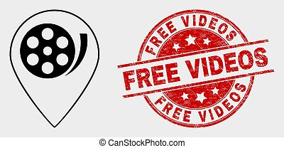 Vector Movie Map Marker Icon and Distress Free Videos Seal