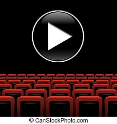Vector movie theater background with red chairs and play symbol.