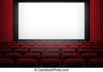 Vector movie theatre background with white screen red curtains and chairs.