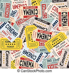 Vector movie ticket in vintage style for website and mobile application background design