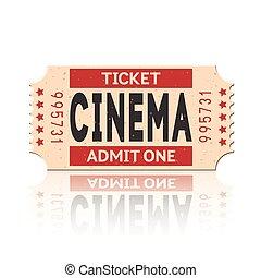 Vector movie ticket vintage retro style set 1