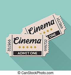 Vector movie ticket vintage retro style set 4