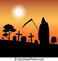 vector, muerte, silueta, posición, en, cementerio
