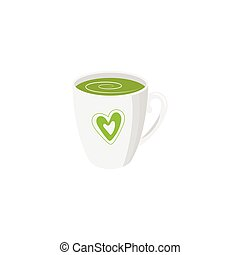 Vector mug of green tea isolated
