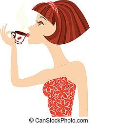 vector, mujer, bebida, café