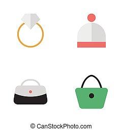 vector, mujer, compromiso, simple, accesorios, ilustración, lana, synonyms, conjunto, icons., elementos, handbag., sombrero, otro, bolsa, uso