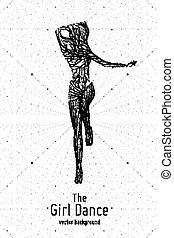 vector, mujer, concepto, silueta, belleza, pose., bailando, baile, petite, líneas, particles., elegante, femine, lento, motion., monocromo, niña, club., intricated, constructed