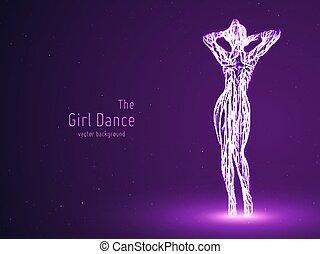 vector, mujer, concepto, silueta, belleza, pose., bailando, baile, petite, líneas, particles., elegante, encendido, lento, motion., violeta, femine, niña, club., intricated, constructed