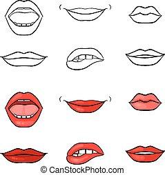 vector, mujer, labios, y, boca, siluetas