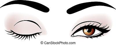 vector, mujer, ojos