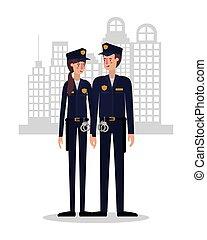 vector, mujer policía, diseño, policía