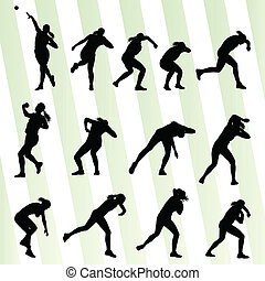 vector, mujer, tiro, atlético, concepto, plano de fondo,...