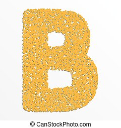 Vector multi color alphabet with grain texture, letter B
