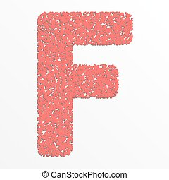 Vector multi color alphabet with grain texture, letter F