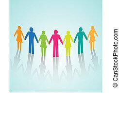 Vector multi-color human community pictograms - Vector...