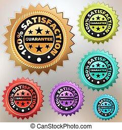 Vector multicolor satisfaction labels set. EPS 8