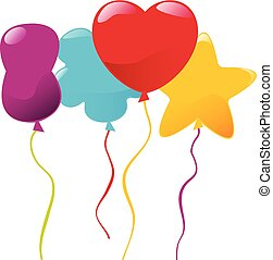 Vector multicolored balloons of different shapes