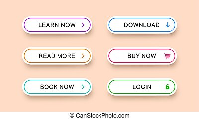 Vector multicolored buttons for web design.