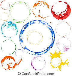 Vector multicolored paint circles - Vector Set of ...