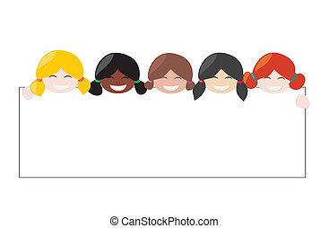 Vector multicultural girls