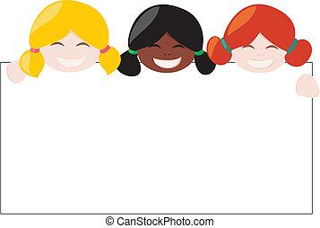 vector, multicultural, niñas