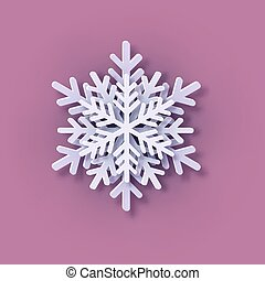 Multilayered Paper Snowflake icon. Symmetric Papercut snow flake silhouette isolated on pink. Winter season weather decoration symbol. Vector flat style Christmas, Noel greeting Origami art snowflake