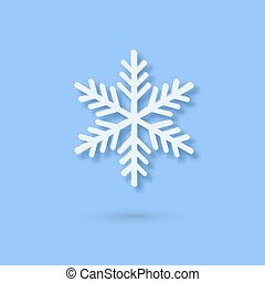 Multilayered Paper Snowflake icon. Symmetric Papercut snow flake silhouette isolated on blue. Winter season weather decoration symbol. Vector flat style Christmas, Noel greeting Origami art snowflake