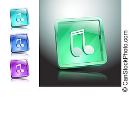 Vector multimedia musical note icon button