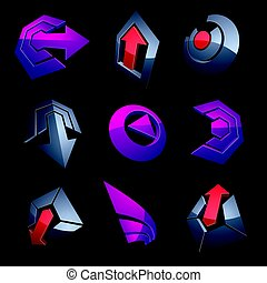 Vector multimedia signs collection isolated on black background. 3d purple abstract design elements, can be used in web and graphic design and as marketing symbols.