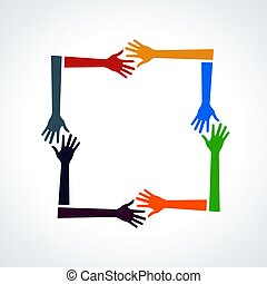 Vector Multiracial Human Hands in a Square.